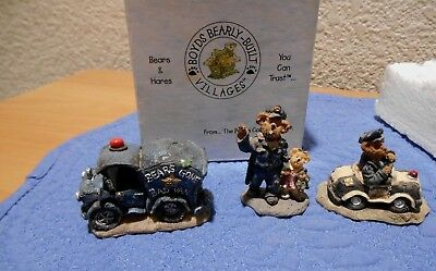 Boyds Bearly Built Villages Bears Gone Bad Van, Sgt Smiley & Daisey, Mikey Meter
