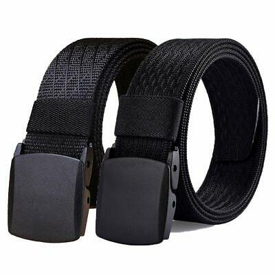 WYuZe Mens Nylon Web Belt, No Metal Buckle Military Tactical Work Hiking Belt