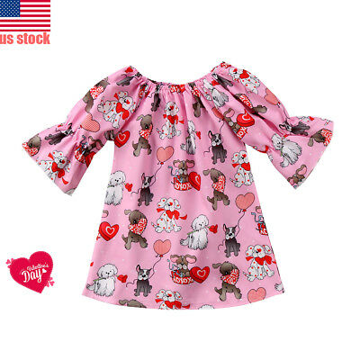 Valentine's Day Girls Dress Dog and Love Boutique Baby Toddler Party Dresses US