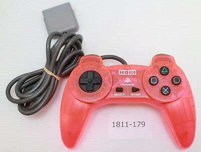 [Free ship] PS1 Controller Clear Pink HORI PAD II Official Work Japan