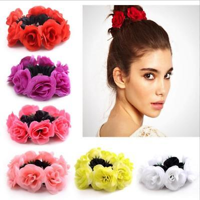 Stylish Women Girl Rose Flower Hair Band Rope Elastic Ponytail Holder Scrunchie