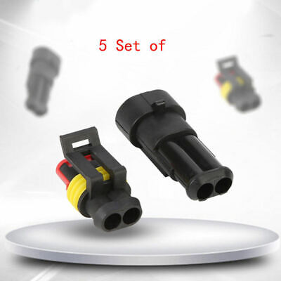 10Kits 2 Pin Way Sealed Waterproof Electrical Wire Connector Plug Car Auto Set