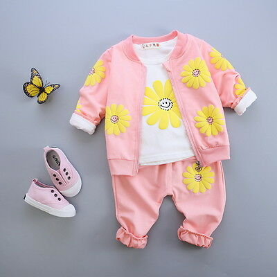 3pcs kids baby Girls tops+ T shirt + pants Outfits & set boys autumn clothing