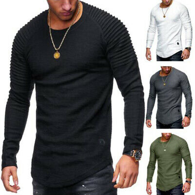UK Mens Tops Long Sleeve Casual T Shirt Crew Neck Slim Fit Muscle Fold Tops Tee