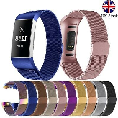 Replacement Milanese Metal Strap for Fitbit Charge 3 Secure Band Metal Buckle ☆