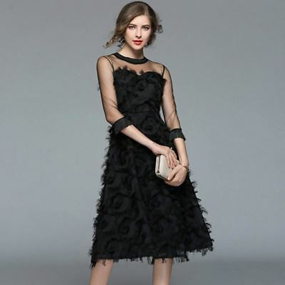 New Fashion Hollow Out Patchwork Pattern Tassel Mesh Dress for Women
