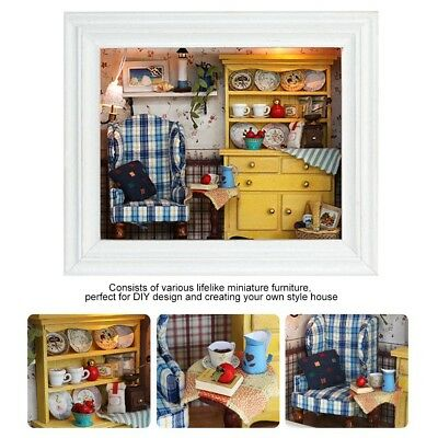 DIY Wood Dollhouse Photo Frame Assemble Kit Miniature Doll House w/Furniture