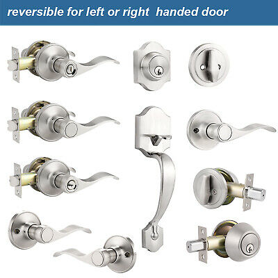 Front Door Handle Entry Lock set Brushed Nickel Privacy Passage Levers Knobs