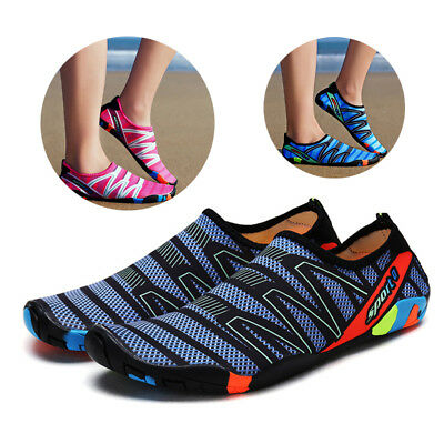 Women Men Quick Dry Beach Slip On Striped Flats Athletic Swim Water Shoes Unisex