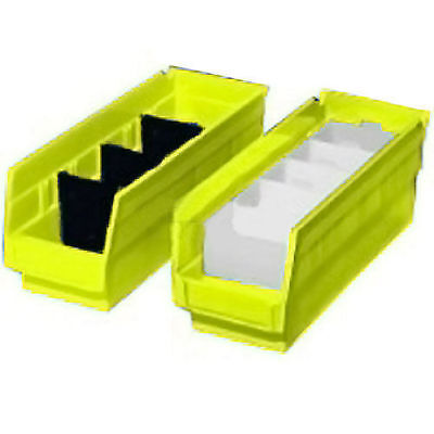 "Akro-Mils Plastic Shelf Bin Nestable, 11-1/8""W x 23-5/8""D x 4""H, Yellow, Lot of"