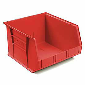 "Akro-Mils Plastic Stacking Bin, 16-1/2""W x 18""D x 11""H, Red, Lot of 3"