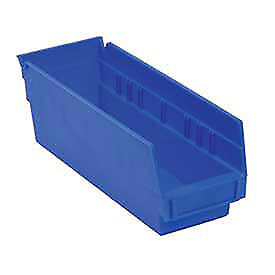 "Akro-Mils Plastic Shelf Bin, 4-1/8""D x 23-5/8""D x 4""H Blue, Lot of 12"