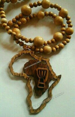 👉 *With Beads* 🚦Drum AFRICA MAP STATEMENT PENDANT by- Bee's Expressive Ears