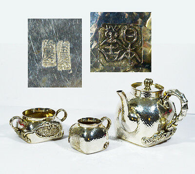 Rare Antique Chinese Export Silver Teapot Service Set