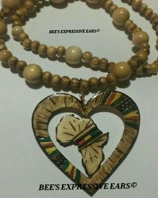 👉 *With Beads* 🚦LOVE HEART AFRICA MAP STATEMENT PENDANT by- Bee's Expressives
