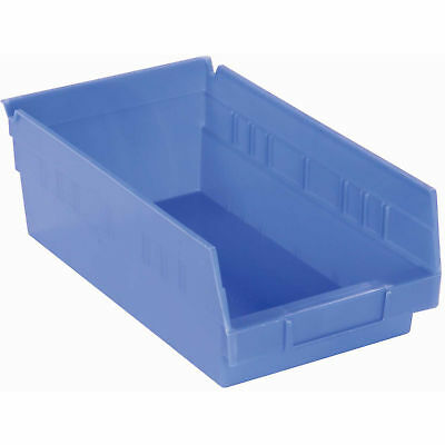 "Plastic Shelf Bin Nestable, 8-3/8""W x 11-5/8""D x 4""H, Blue, Lot of 12"