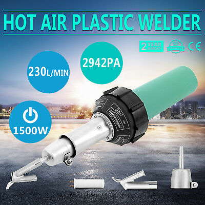 1600W Hot Air Torch Plastic Welding Gun Welder Pistol + Roller Brush Flat Nozzle