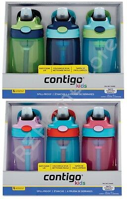 Contigo Gizmo Kids Spill-Proof Flip Top Drinks Bottle, 3 Pack AutoSpout BPA Free