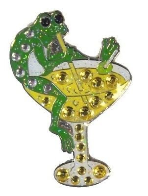 """Navika Golftini """"Tipsy Frog. Crystal and Glitz Ball Marker with Hat Clip"""
