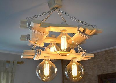 Aged wood ceiling lamp, wooden chandelier Edison type bulbs are included, lamp