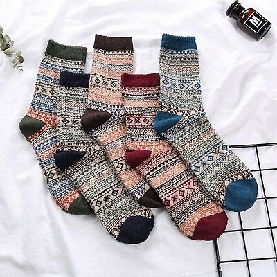 10 Pairs Men Retro Wool Cashmere Design Warm Soft Thick Casual Dress Winter Sock