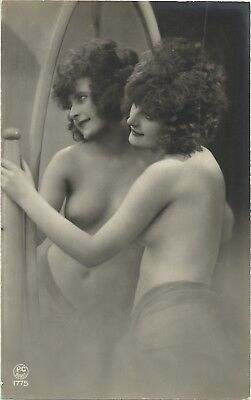 Rare original old French real photo postcard Art Deco nude study 1920s RPPC #164