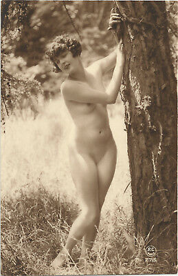 Rare original old French real photo postcard Art Deco nude study 1920s RPPC #129