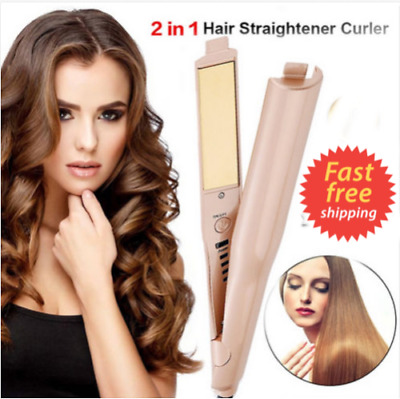 Pro Hair Curler Twist 2-in-1 Hair Curling & Straightener Iron styling tools HE