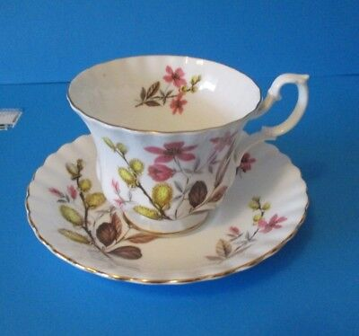 Royal Albert Cup & Saucer  Pussy Willows & Pink Flowers Excellent Condition