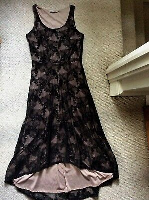 Rolla Coster Tan Black Floral Lace Overlay High Low Hem Sleeveless Dress Sz M