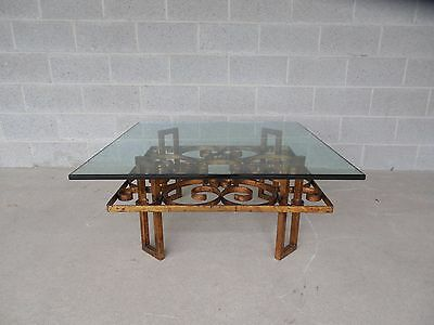 Vtg Hollywood Regency Wrought Iron Design Base Glass Top Coffee/Cocktail Table
