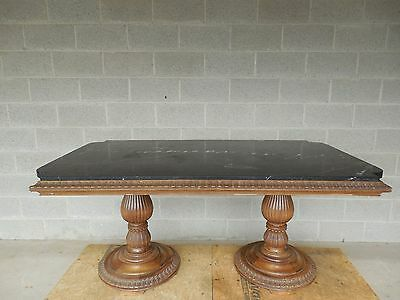 Vintage Neoclassical Double Pedestal Marble Top Entry Table 64w X
