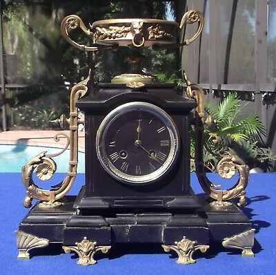 Antique Ornate Victorian  French Mantel Clock Marble Gilt Bronze