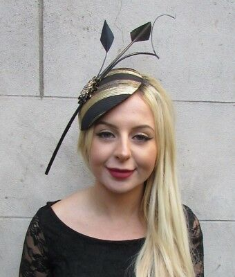 Large Black Gold Statement Feather Hat Fascinator Headband Races Hair Vtg 6629