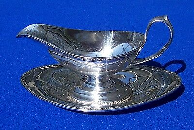 Antique Silver Plated Sauce or Gravy Boat With Under Plate Stamped