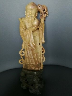antica scultura cinese in pietra, old chinese soapstone figure