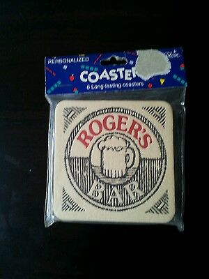 New pesonalized coasters Roger's bar Set of 6 Man Cave As pictured
