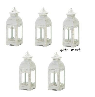 10 White Victorian shabby whitewashed Lantern Candle holder wedding centerpiece