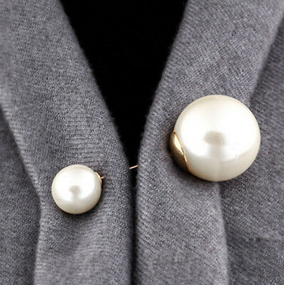 Women Vintage Double Head Pin Imitation Pearl Brooch Wedding Party Accessories