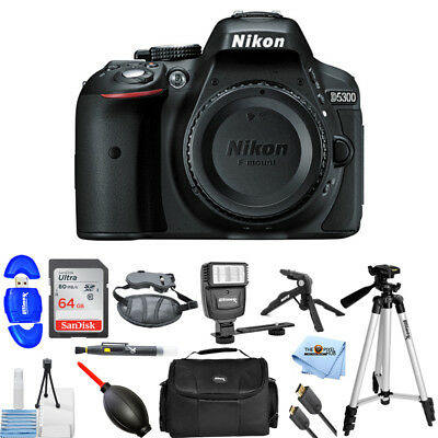 Nikon D5300 Digital SLR Camera (Body, Only) 1519 PRO BUNDLE with 64GB SD + MORE