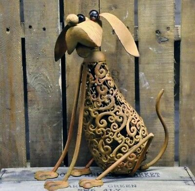 "16"" Garden Dog Ornament Rustic Rusty Metal Vintage Industrial Style Quirky"