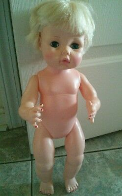 """15"""" EEGEE DOLL OLD BABY  DOLL RUBBER DOLL DRINK & WET DOLL Eyes Open and Close"""