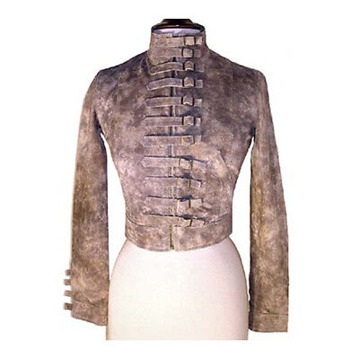 TRASHY DIVA BUCKLES LEATHER JACKET tan suede moto retro pin up vintage XS 2