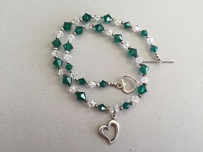 Pretty Green Crystal Sterling Silver Necklace w/ Sterling Heart Charm & Toggle