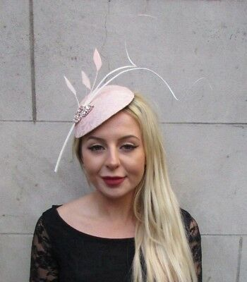 Large Blush Nude Light Pink Ivory Cream Feather Hat Fascinator Headband 6634