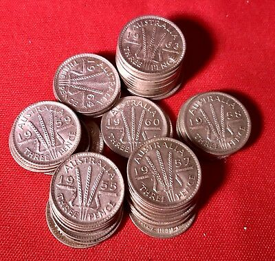 1956 Australian Three Pence Coin 50 %Silver In Case 1 Coin. Many Years Available