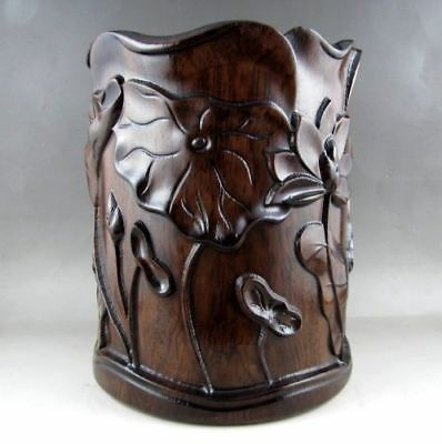 Exquisite Chinese Old Unique Huali Wood Natural Carved Brush Pot Rt