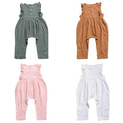 Newborn Baby Girls Flying Sleeve Cotton Romper Bodysuit Jumpsuit Trousers Outfit