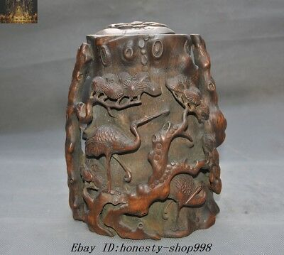 """9"""" Rare Unique Old Chinese Bamboo root Carved Pine Crane Boxes jar Tea Caddies"""