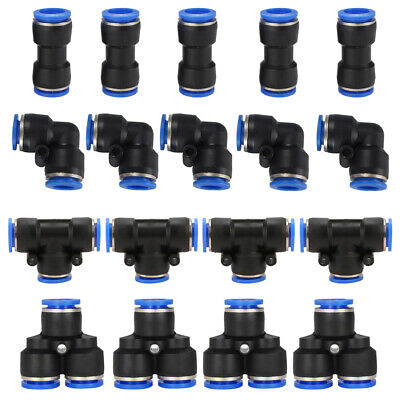 5x 4/6/8/10/12mm Pneumatic Push in Air Quick Connect Fittings Coupler Connector